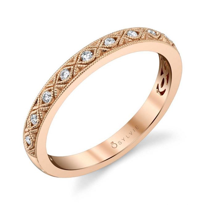 Vintage Inspired Rose Gold Stackable Band - Silverscape Designs