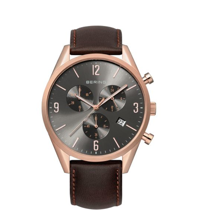 Men's Brown and Rose Gold Watch