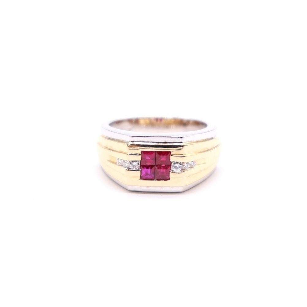Men's Estate Two Tone Ruby Ring - Silverscape Designs