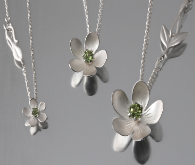 Sterling Silver Apple Blossom Necklace