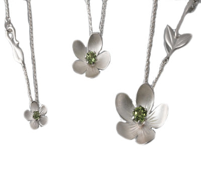 EAM Sterling Silver Apple Blossom Necklace (3 stone options)
