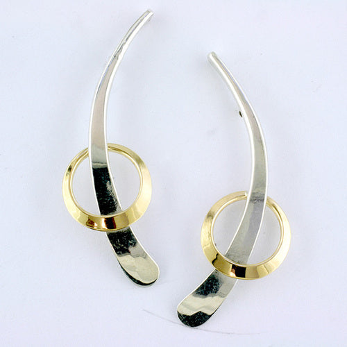 Trapped Circle Earring in Sterling Silver and Yellow Gold - Silverscape Designs