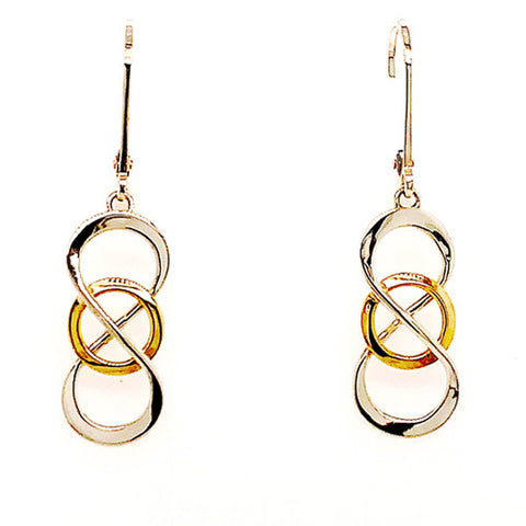 Celtic Knot Earring in Sterling Silver and Yellow Gold - Silverscape Designs