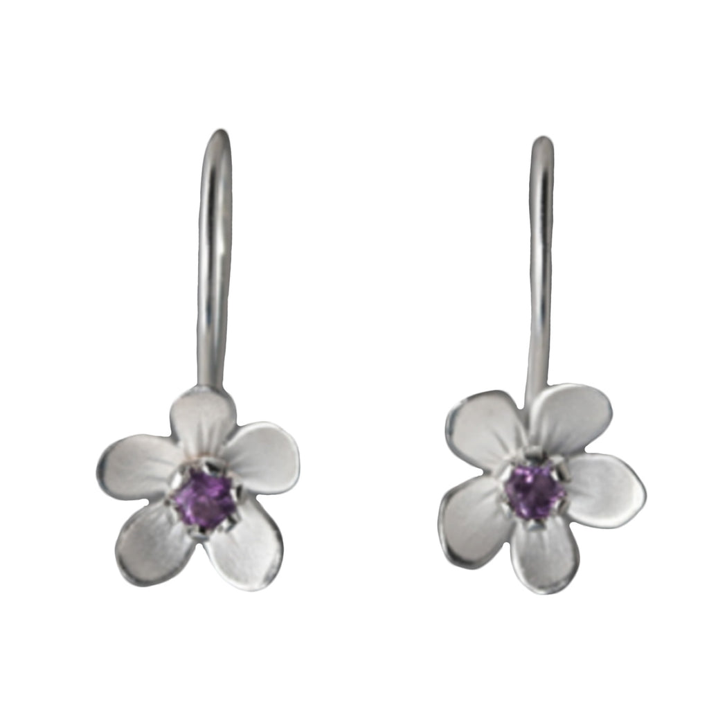 Sterling Silver Apple Blossom Amethyst Earrings by EAM