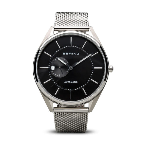 Polished Silver Black Face Automatic Watch