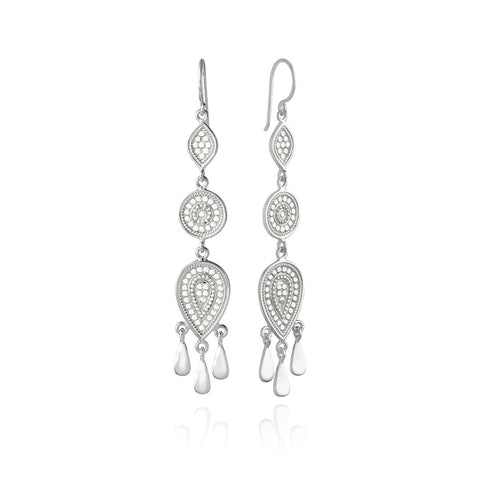 Anna Beck Beaded Triple Drop Fringe Silver Earrings
