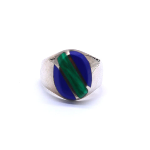Vintage Men's Lapis and Malachite Ring - Silverscape Designs