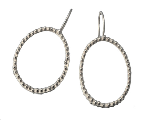 Sterling Silver Large Bone Circle Earrings - Silverscape Designs