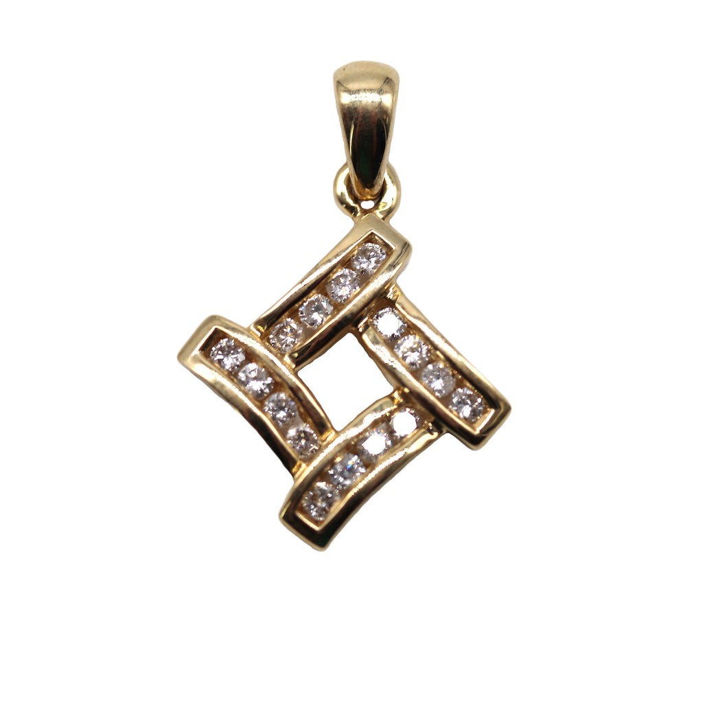 Estate Channel Set .48 TCW Diamond 14k Yellow Gold Pendant