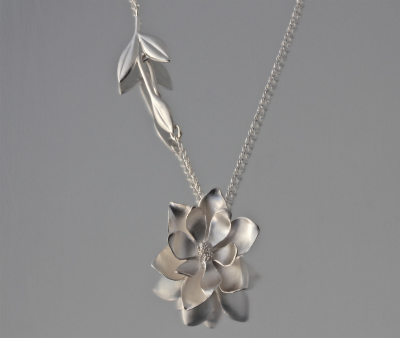 Sterling Silver Large Magnolia Necklace