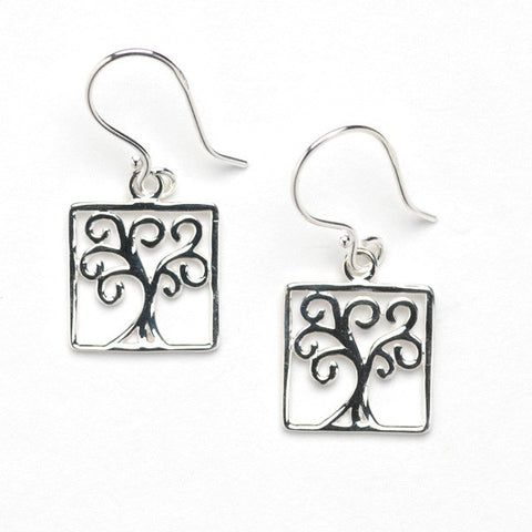 Southern Gates Oak Tree Small Square Framed Earring - Silverscape Designs