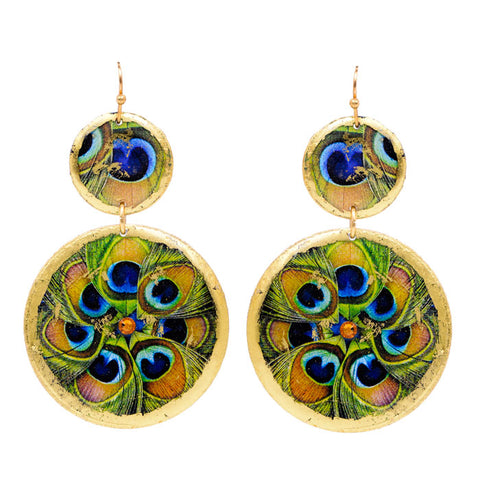 Evocateur Double Disc Peacock Drop Earrings