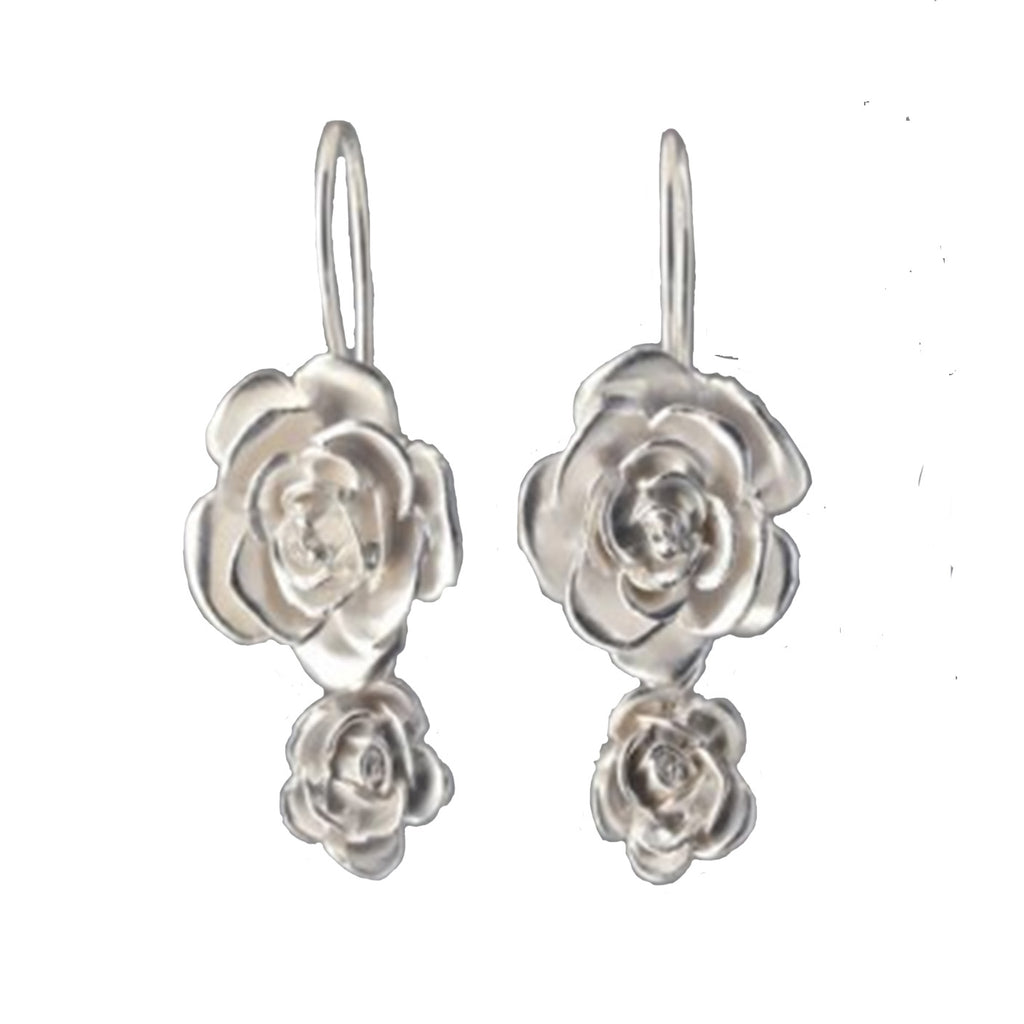 Sterling Silver Double Rose Earrings - Silverscape Designs