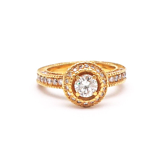 Estate Halo Diamond Engagement Ring In 18k Yellow Gold, 1.41 Carat TW Diamonds, Vintage Style - Silverscape Designs