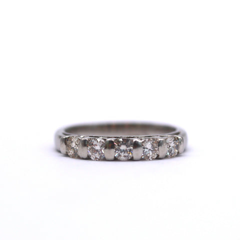 Estate Ladies Five Diamond Platinum Band - Silverscape Designs