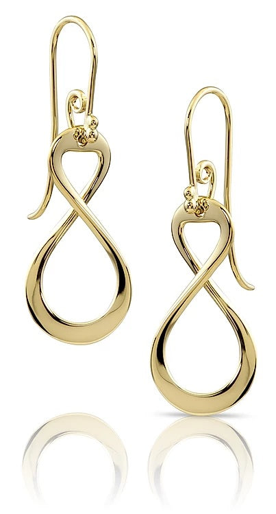 14k Yellow Gold Small Infinity Dangle Earrings