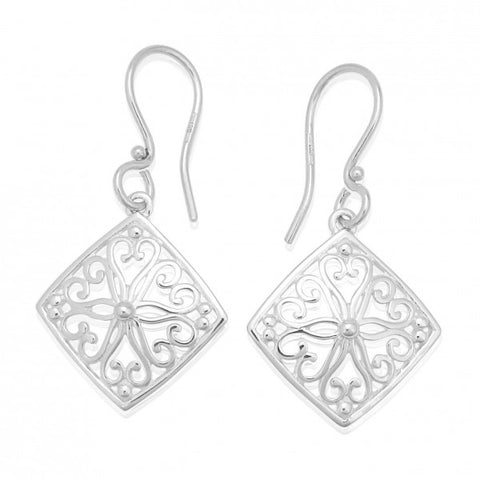 Southern Gates Small Diamond Scroll Earring - Silverscape Designs