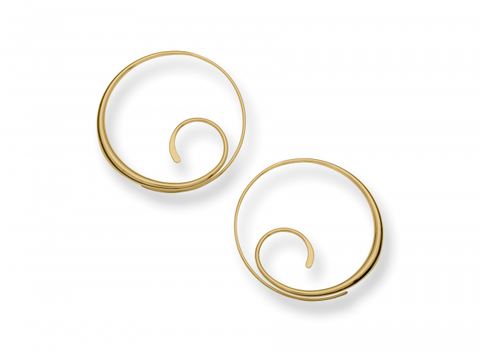 Yellow Gold Scrolling Hoop Earrings - Silverscape Designs
