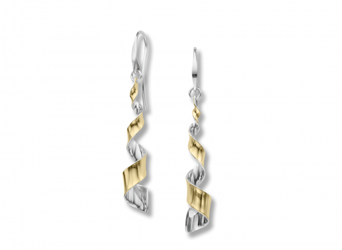 Ed Levin Sterling Silver and 14karat Yellow Gold Twist Earrings