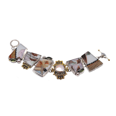 Japanese China Mother of Pearl Mixed Metal Bracelet