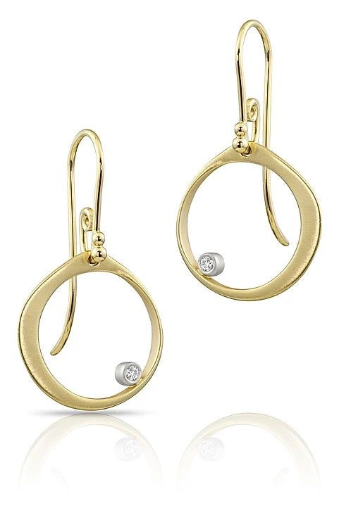 Yellow Gold Circle Earrings with Bezel Set Diamonds