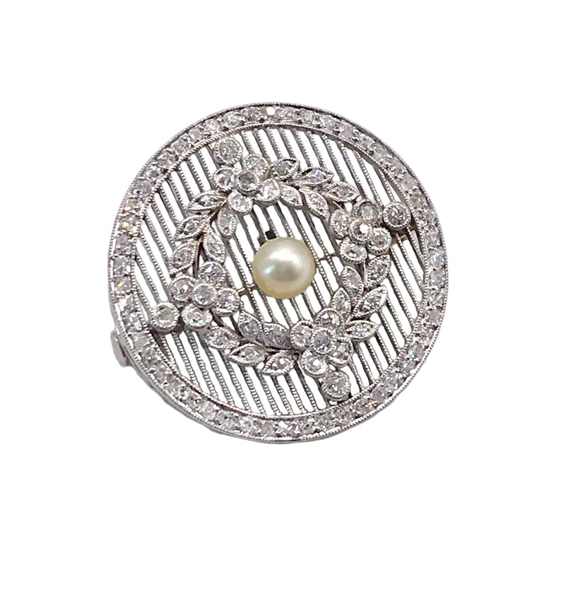 Outstanding Edwardian Diamond & Pearl Brooch In Platinum, Antique French Style Botanical Brooch w Wreath Motif Center, Platinum Pin
