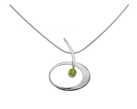 Ed Levin Sterling Silver Elliptical Elegance Necklace with peridot