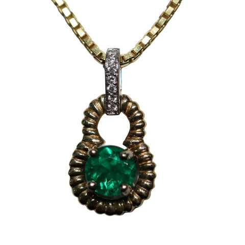 Emerald and Yellow Gold Rope Pendant - Silverscape Designs