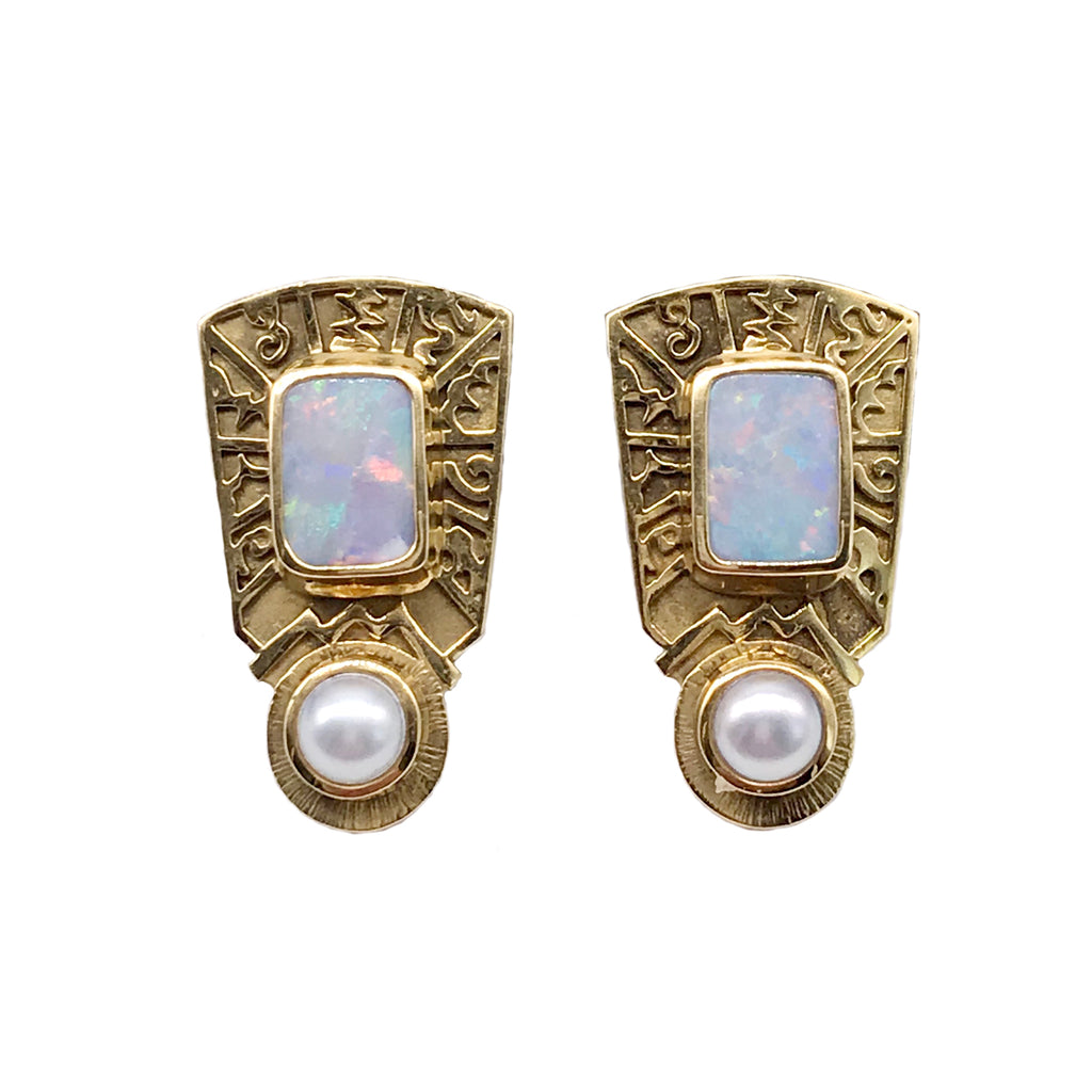 Vintage 11.5X9mm Australian Opal and 6.5mm Pearl Omega Backs 18k Yellow Gold Earrings