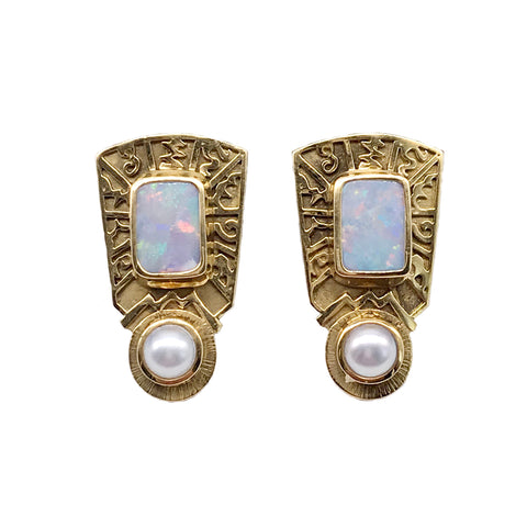 Vintage Opal and Pearl Omega Backs