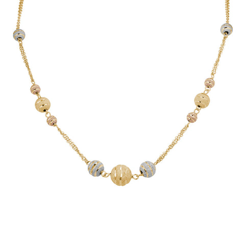 Etched Bead Necklace in Rose, White and Yellow Gold - Silverscape Designs