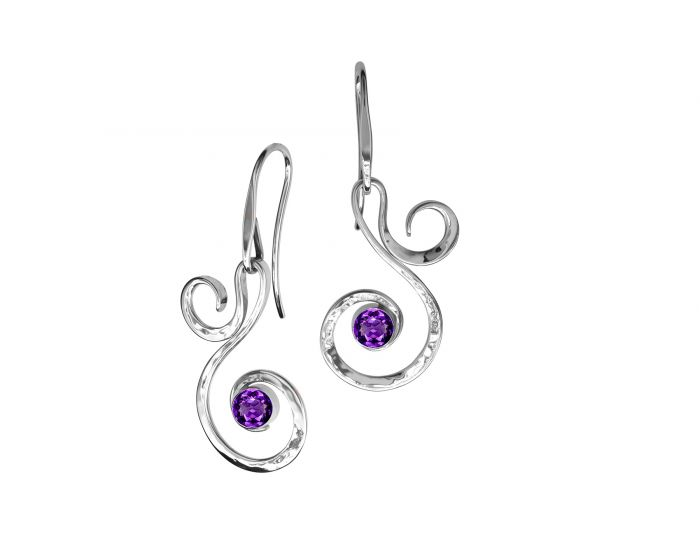 Fiddlehead Earrings (7 Stone Options) - Silverscape Designs