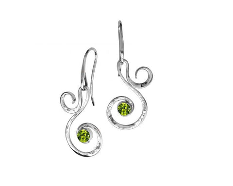 Ed Levin Sterling Silver  Fiddlehead Earrings with peridot