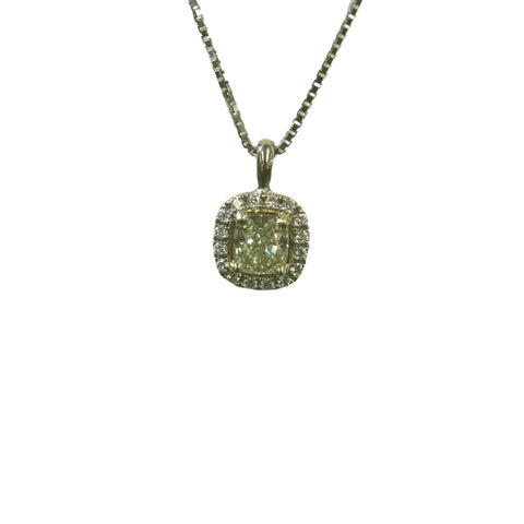 Yellow Diamond Pendant with Diamond Halo in White Gold - Silverscape Designs
