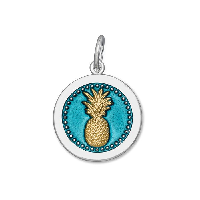 Teal Pineapple Pendant in Sterling Silver 27mm - Silverscape Designs