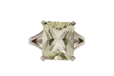 Vintage Cocktail Ring, 14k White Gold Statement Ring w Synthetic Peridot, Large Emerald Cut Pale Green Stone, Fashion Ring For Her Size 4.75