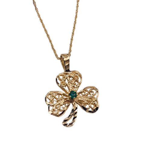 "Vintage 14K Gold Shamrock Pendant w Emerald, Estate Yellow Gold Luck O' The Irish Clover Pendant w 15"" Chain, Celtic Jewelry"
