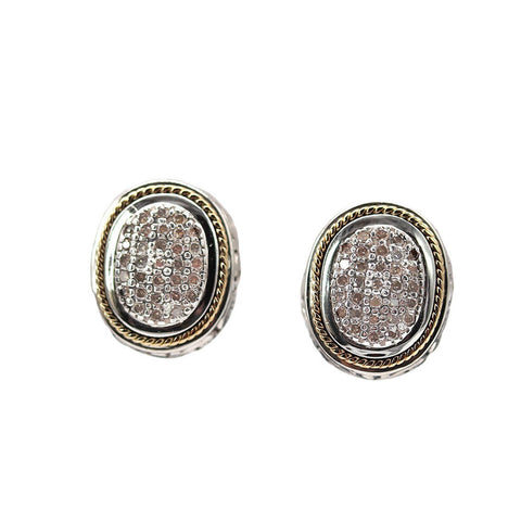 Estate EFFY Pave Champagne Diamond Earrings, 18K Gold & Sterling Silver, Omega Back Closure