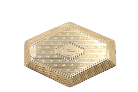 14k Gold Art Deco Pillbox, Hexagonal Keepsake Box, Art Deco Cross Hatch & Striped Design Engraved Fancy Initial G, 14k Box For Pills Jewels