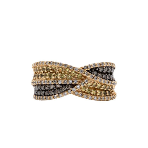 Estate Levian Chocolate & Yellow Diamond Ring, 14k Yellow Gold Sparkly Pave Diamond Crossover Band Ring, White Pave Diamond Border, Size 6