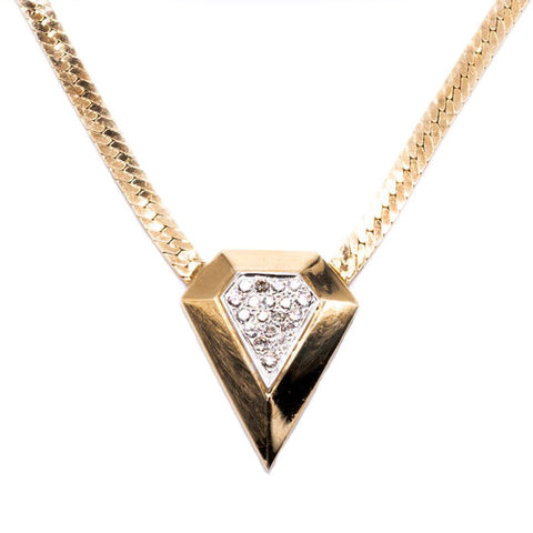 "14K Yellow Gold Oversized ""Diamond"" Shaped Pendant Encrusted w Diamonds On Herringbone Chain"