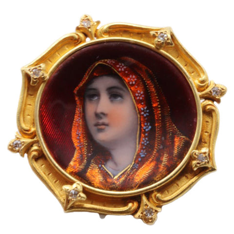 RARE Antique 18k Gold Enamel Portrait Brooch with Diamond Border, Deep Red Enamel w Portrait - Perhaps Saint Fabiola ? Exquisite