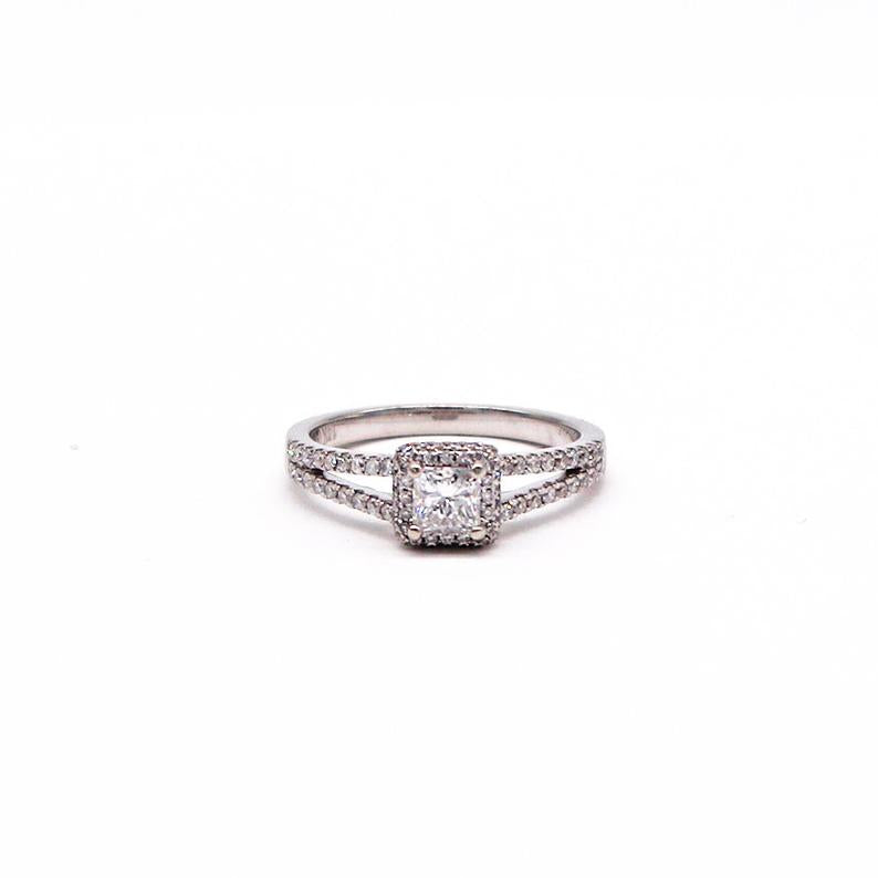 Low Profile Estate Princess Cut Engagement Ring With Diamond Halo - Silverscape Designs