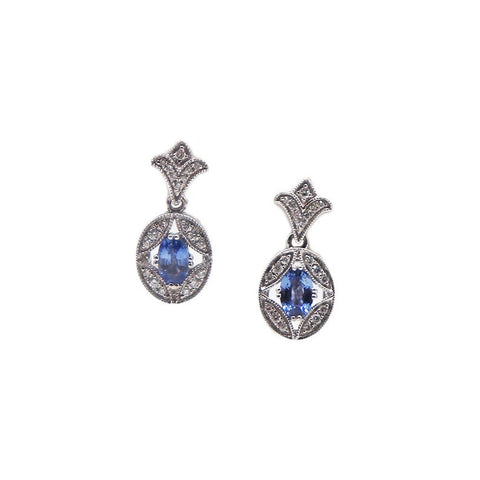Ornate Filigree Sapphire and Diamond Drop Earrings - Silverscape Designs