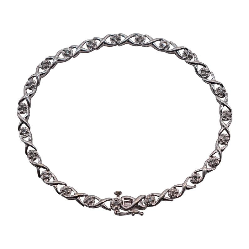 Ladies 10K White Gold Twisted Diamond Link Bracelet - Silverscape Designs