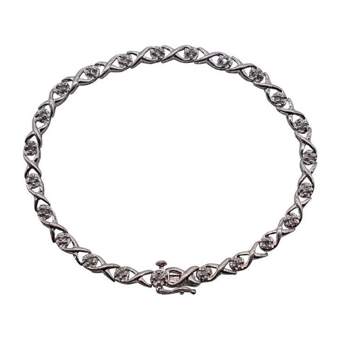 Ladies 10K White Gold Twisted Diamond Link Bracelet