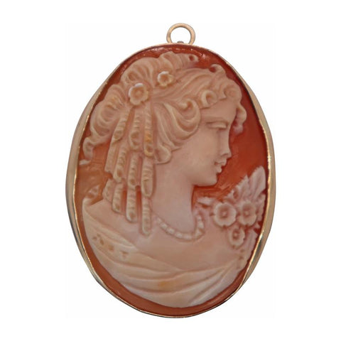 Detailed Large Cameo Brooch/Pendant - Silverscape Designs