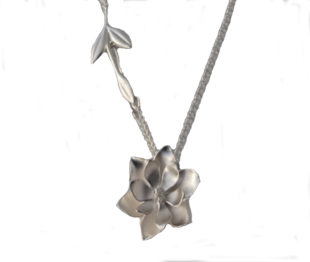 Sterling Silver Large Magnolia Necklace - Silverscape Designs