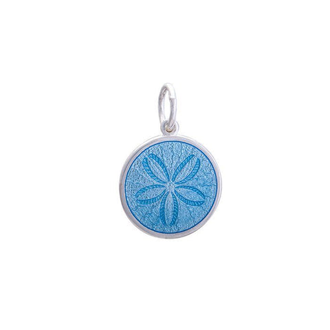 Light Blue Sand Dollar Pendant in Sterling Silver 19mm - Silverscape Designs