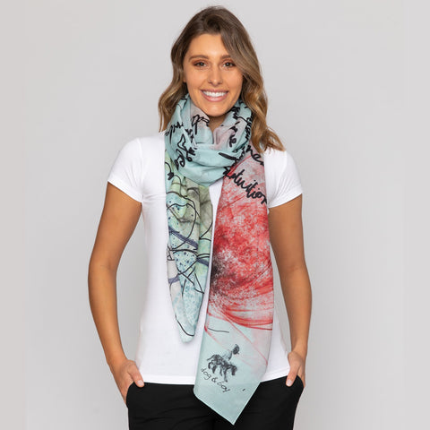 Dog and Boy Designs Manifesto Silk and Cotton Scarf
